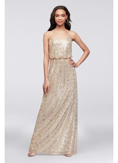 5c01096f Allover Sequin Blouson Tank Bridesmaid Dress | David's Bridal