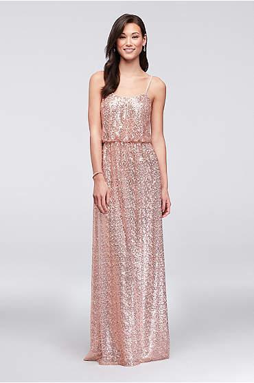 Allover Sequin Blouson Tank Bridesmaid Dress