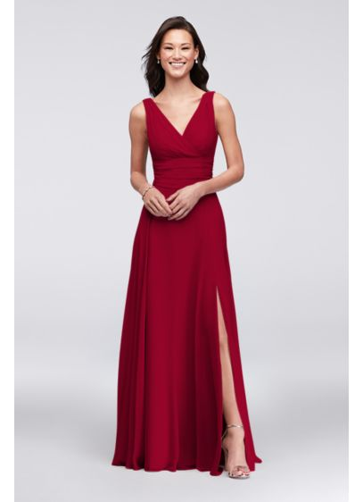 Surplice Tank Long Chiffon Bridesmaid Dress | David\'s Bridal