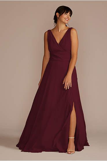 Surplice Tank Long Chiffon Bridesmaid Dress