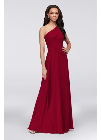 eecd3724d34 One-Shoulder Georgette Cascade Bridesmaid Dress. F19832. Long Sheath Formal  Wedding Dress - David s Bridal