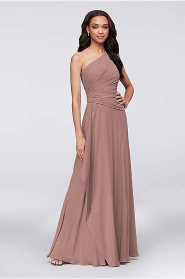 One-Shoulder Georgette Cascade Bridesmaid Dress
