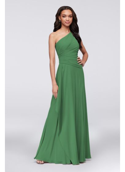 David's Bridal Green (Georgette One-Shoulder Cascade Bridesmaid Dress)