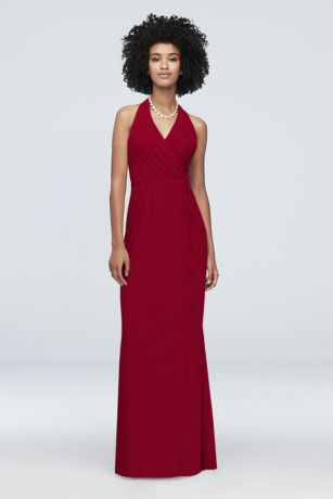 Faux-Wrap Mesh Halter Bridesmaid Dress - A halter neckline and faux-wrap silhouette add retro