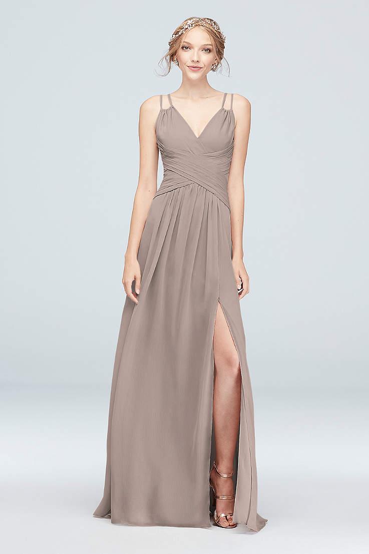 c2f1edaa8a8 Soft   Flowy David s Bridal Long Bridesmaid Dress