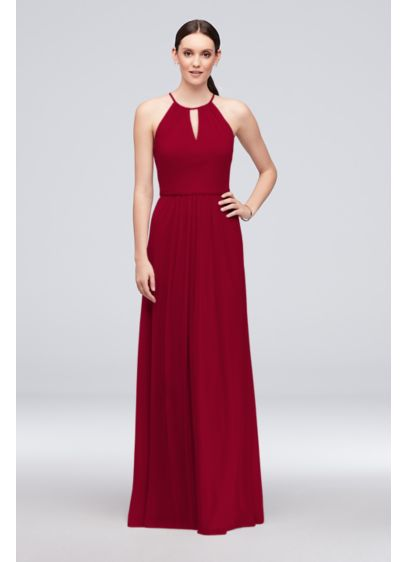 High-Neck Long Mesh Bridesmaid Dress with Keyhole - This elegant mesh bridesmaid dress features a long,