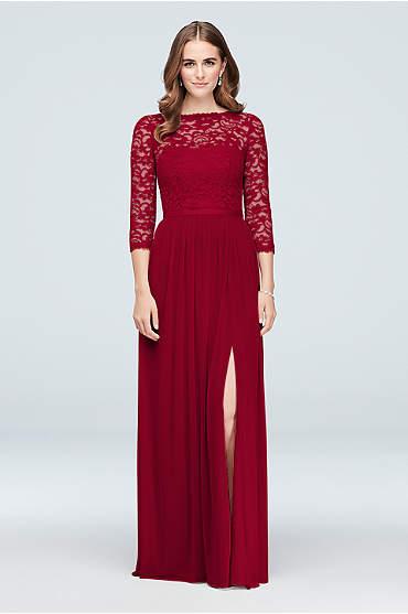 3/4-Sleeve Illusion Lace and Mesh Bridesmaid Dress