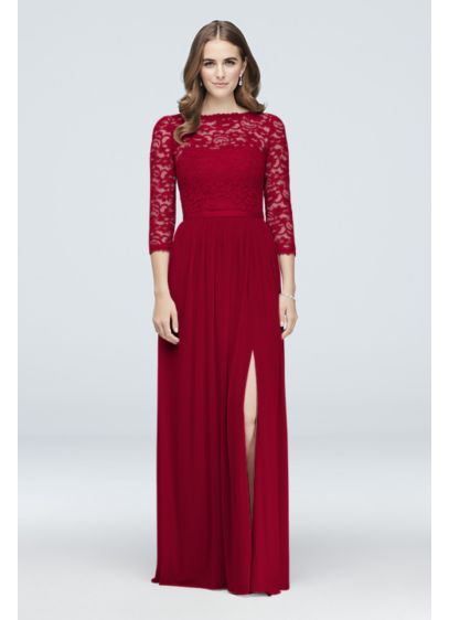 3/4-Sleeve Illusion Lace and Mesh Bridesmaid Dress - Three-quarter sleeves offer elegant coverage on this instant-classic