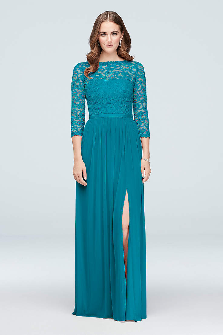 Soft   Flowy Structured David s Bridal Long Bridesmaid Dress c2295ac77