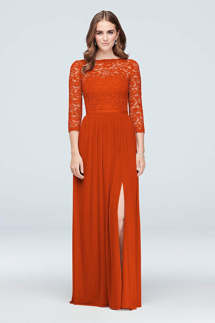Tangerine And Orange Bridemaid Dresses David S Bridal