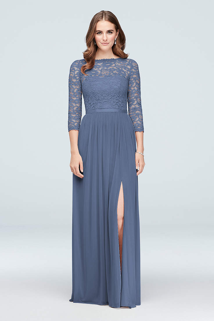 Soft Flowy Structured David S Bridal Long Bridesmaid Dress