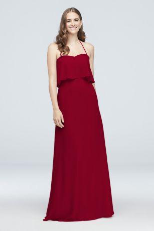 Flounced Crinkle Chiffon Halter Bridesmaid Dress - A swingy flounce gives this crinkle chiffon bridesmaid