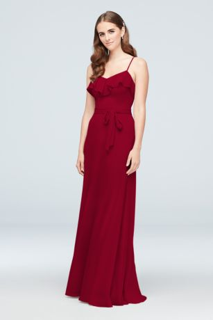 Ruffled Crinkle Chiffon Bridesmaid Dress - A simple dress with a sweet detail, this
