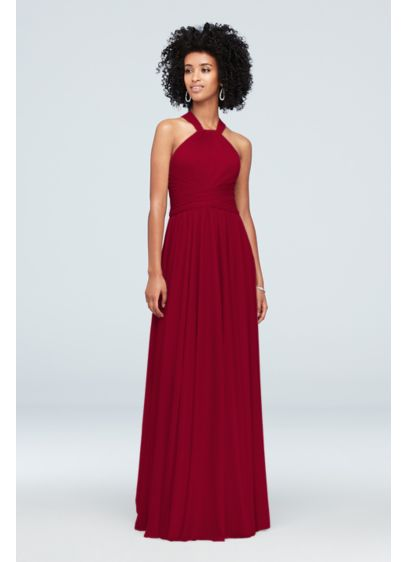 High-Neck Mesh Bridesmaid Dress with Full Skirt - With a figure-flattering crisscross waistband and a full