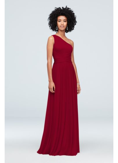 One-Shoulder Mesh Bridesmaid Dress with Full Skirt - With a figure-flattering crisscross waistband and a full