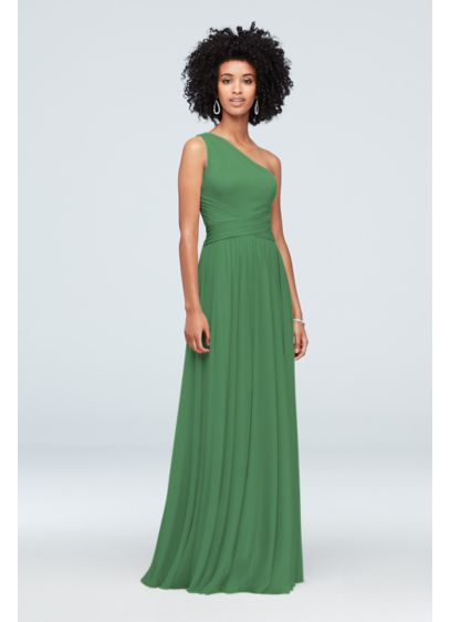 David's Bridal Green (Mesh One-Shoulder Bridesmaid Dress with Full Skirt)
