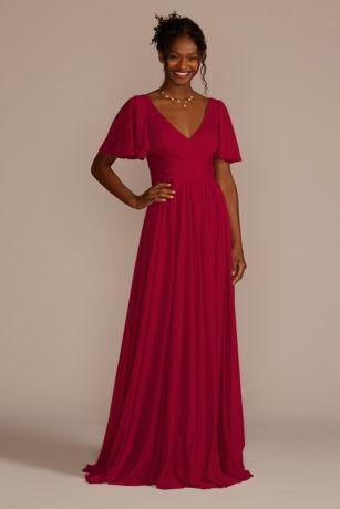 Flutter Sleeve Crisscross Mesh Bridesmaid Dress - With a flattering crisscross waistband and flowing flutter