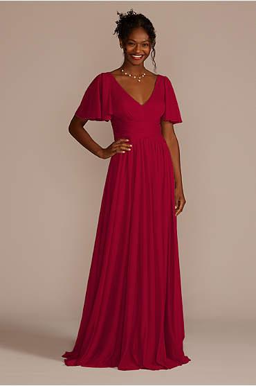 Flutter Sleeve Crisscross Mesh Bridesmaid Dress