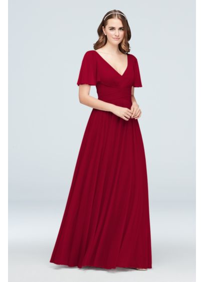 Flutter Sleeve Crisscross Mesh Bridesmaid Dress - With a flattering crisscross waistband and flowing flutter