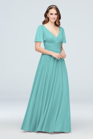 Soft & Flowy David's Bridal Long Bridesmaid Dress
