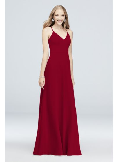 Chiffon V-Neck Spaghetti Strap Bridesmaid Dress - Simple and classic, this spaghetti strap, V-neck chiffon