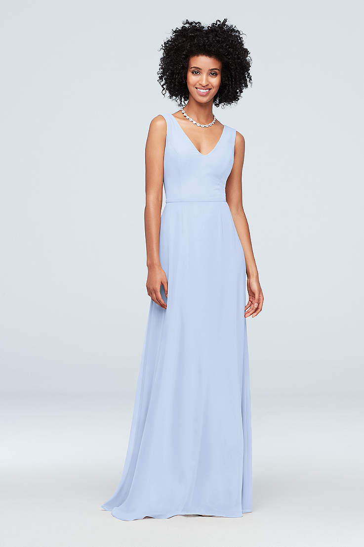 b90c2876c4 Soft   Flowy David s Bridal Long Bridesmaid Dress