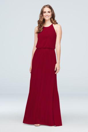 Blouson High-Neck Mesh Bridesmaid Dress - Refined and elegant, this airy mesh bridesmaid dress