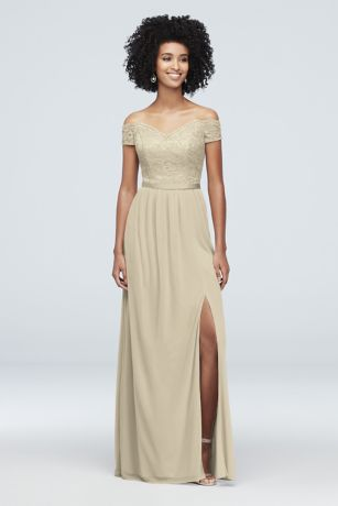 Long A-Line Off the Shoulder Dress - David's Bridal