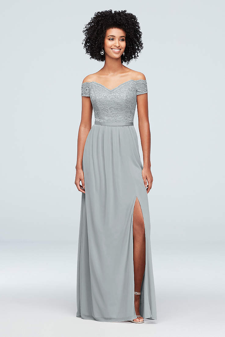 12d7f37cb1d9a Metallic Silver Bridesmaid Dresses - Sparkly, Sequin Gowns | David's ...
