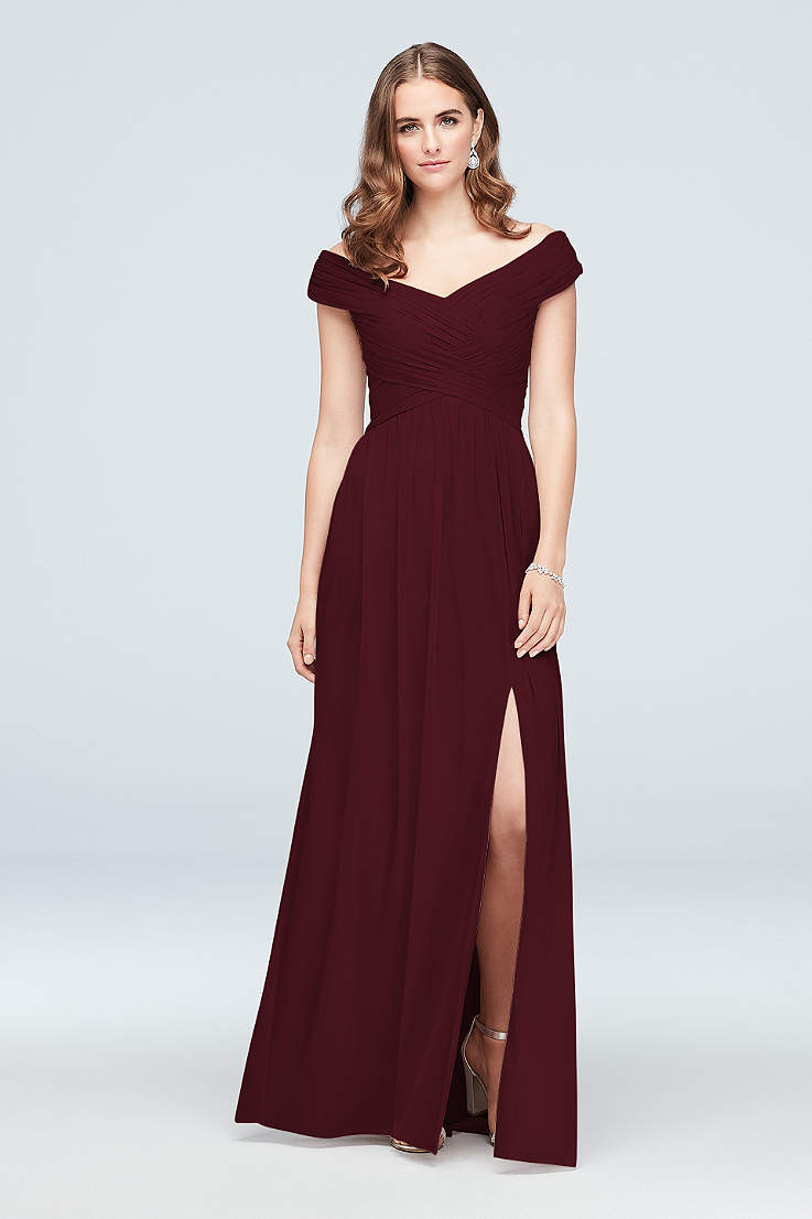 Wine Bridesmaid Dresses Merlot Maroon Bordeaux Gowns David S Bridal