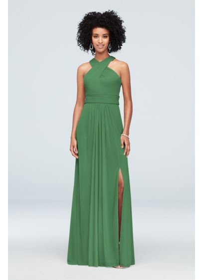 David's Bridal Green (High-Neck Mesh Crisscross Bridesmaid Dress)