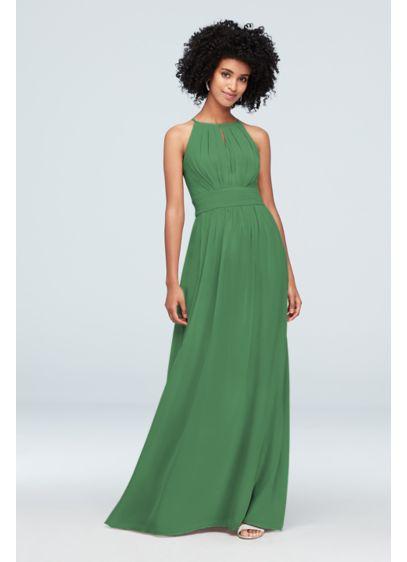 David's Bridal Green (Chiffon High-Neck Bridesmaid Dress with Keyhole)