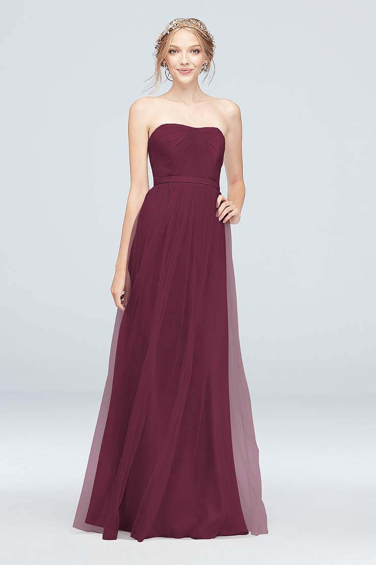 74208caec7a26 Wine Bridesmaid Dresses - Merlot, Maroon, Bordeaux Gowns   David's ...