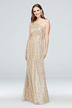 Soft Flowy David S Bridal Long Bridesmaid Dress