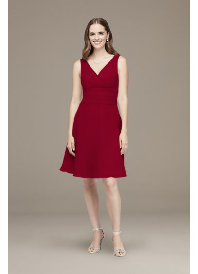 Short Chiffon Bridesmaid Dresses | Surplice Tank Short Chiffon Bridesmaid Dress David S Bridal
