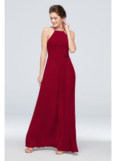 Chiffon High-Neck Pleated Skirt Bridesmaid Dress - Any bridesmaid will love this elegant chiffon look: