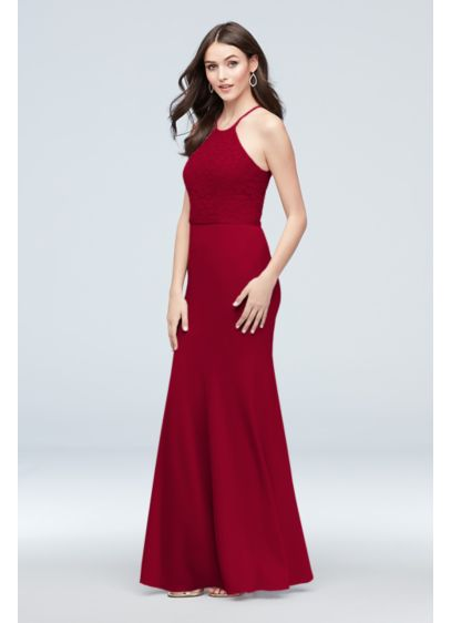 Lace and Stretch Crepe High-Neck Bridesmaid Dress - Accentuate curves in this elegant bridesmaid dress, featuring