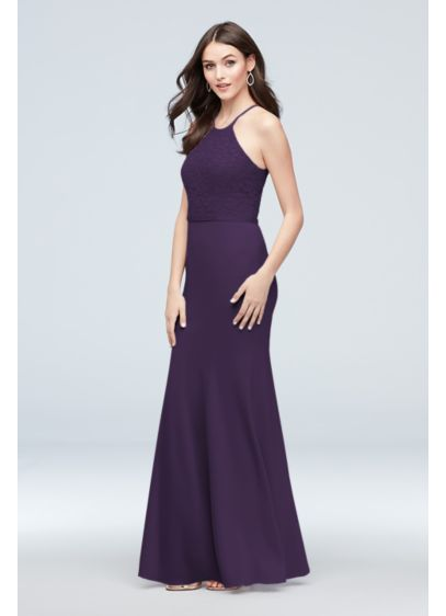 Stretch Crepe and Lace High-Neck Bridesmaid Dress - Wedding Accessories