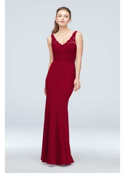 Lace and Stretch Crepe V-Neck Bridesmaid Dress - Form-fitting and fabulous, you'll look glamorous in this