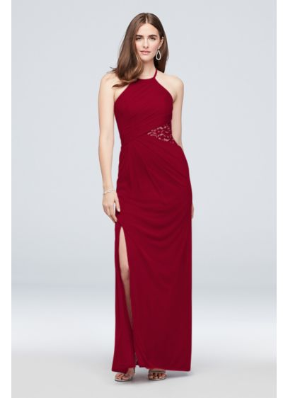 High-Neck Mesh Bridesmaid Dress with Lace Inset - Turn heads in this luxe mesh bridesmaid dress,