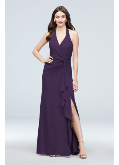 Georgette Halter Twisted Knot Bridesmaid Dress - Wedding Accessories