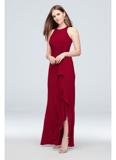 High-Neck Bridesmaid Dress with Cascade Twist - A figure-flattering pleated twist forms a cascading ruffle