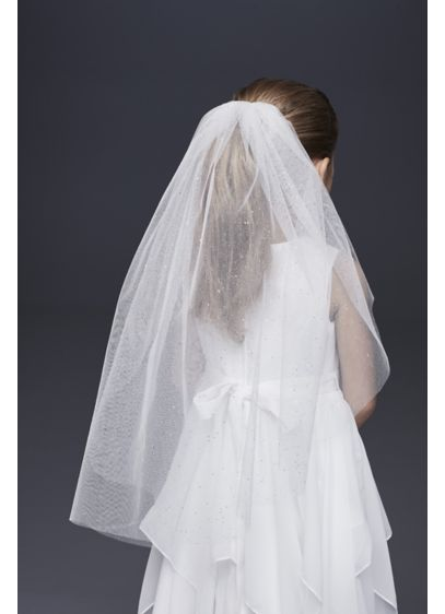 Glitter Tulle Communion Veil - This simply beautiful communion veil is crafted of