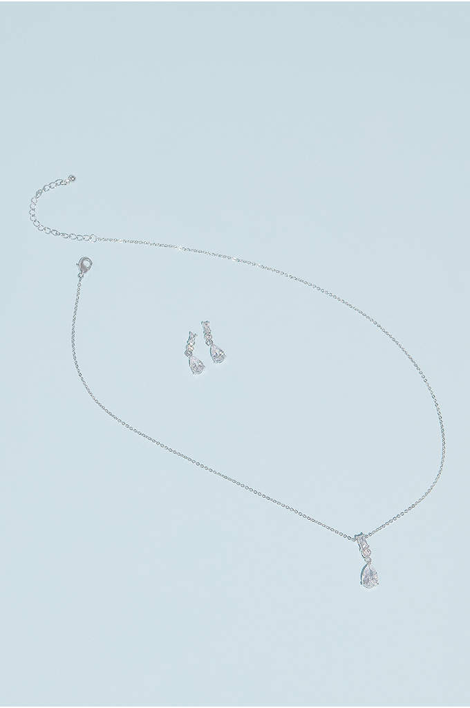Cubic Zirconia Pear Necklace and Earring Set - Highlighting a sparkling assortment of gem cuts, this