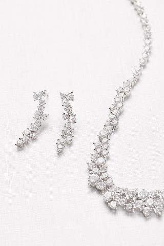 Set de Aretes y Cristales de Cristales en Forma de Ola