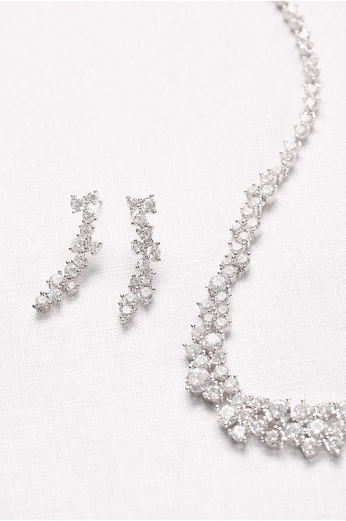 Cubic Zirconia Wave Necklace and Earrings Set - The connected cubic zirconia clusters of this collar