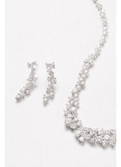 David's Bridal Grey (Cubic Zirconia Wave Necklace and Earrings Set)