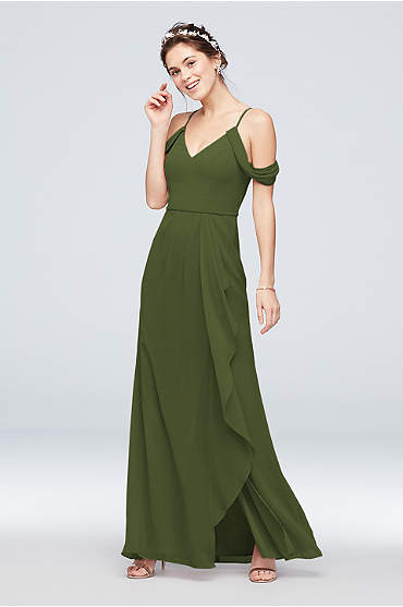 Off-the-Shoulder Bridesmaid Dress with Cascade