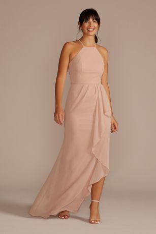 Soft & Flowy David's Bridal Long Bridesmaid Dress