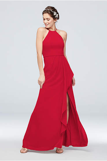 High-Neck Chiffon Bridesmaid Dress with Cascade
